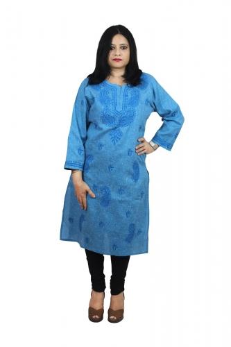 Chikanwork Khadi cotton Denium Blue kurta