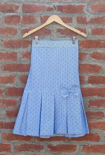Dora blue Box pleats skirt