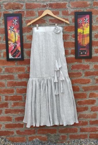 Dora silver long Tricot skirt
