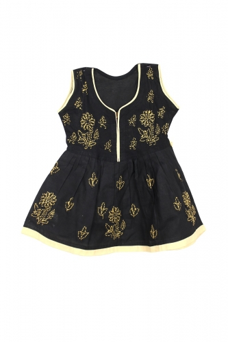 Kid Black Cotton Frock