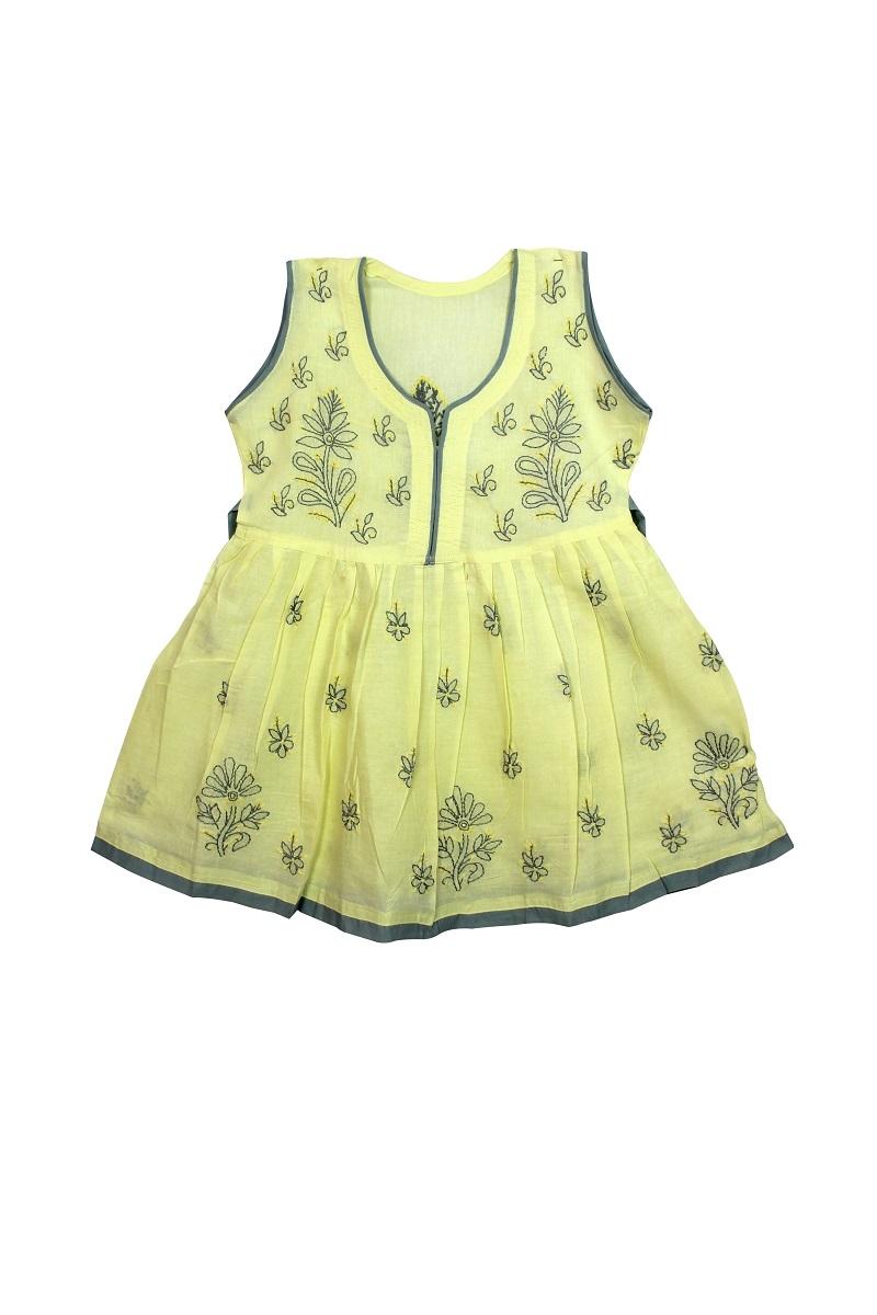 Kid's Lemon yellow Cotton Frock