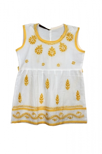 Kid's White Cotton Frock