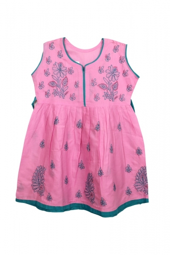 Kid's Pink Cotton Frock