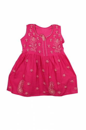 Kid's Dark Pink Cotton Frock