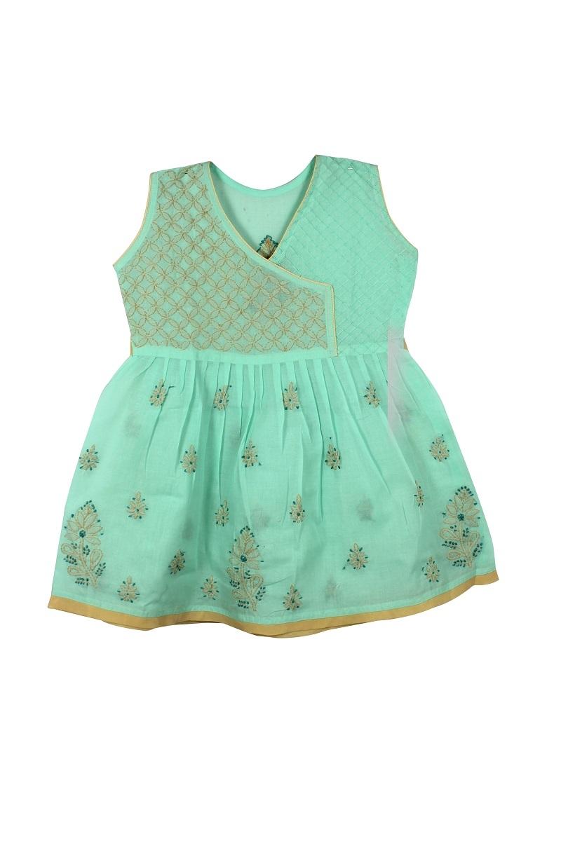 Kids Light green Cotton Frock