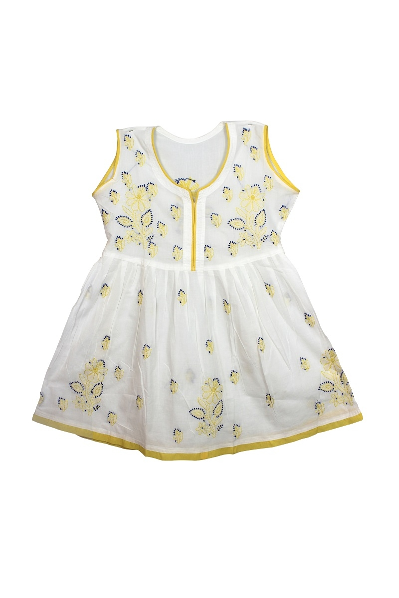 Kid's White yellow Cotton Frock