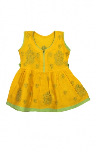 Kid's Yellow light green Cotton Frock
