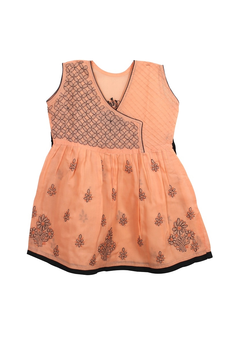 Kid's Peach Cotton Frock
