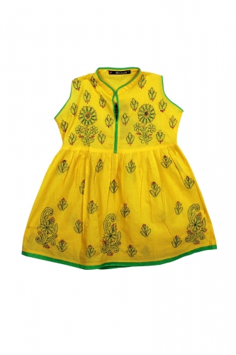 Kid's Yellow Green Cotton Frock
