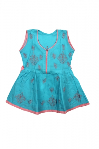 Kid's Blue Cotton Frock