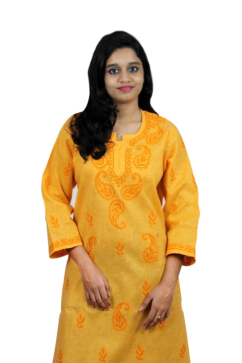 Chikanwork Khadi cotton yellow kurti