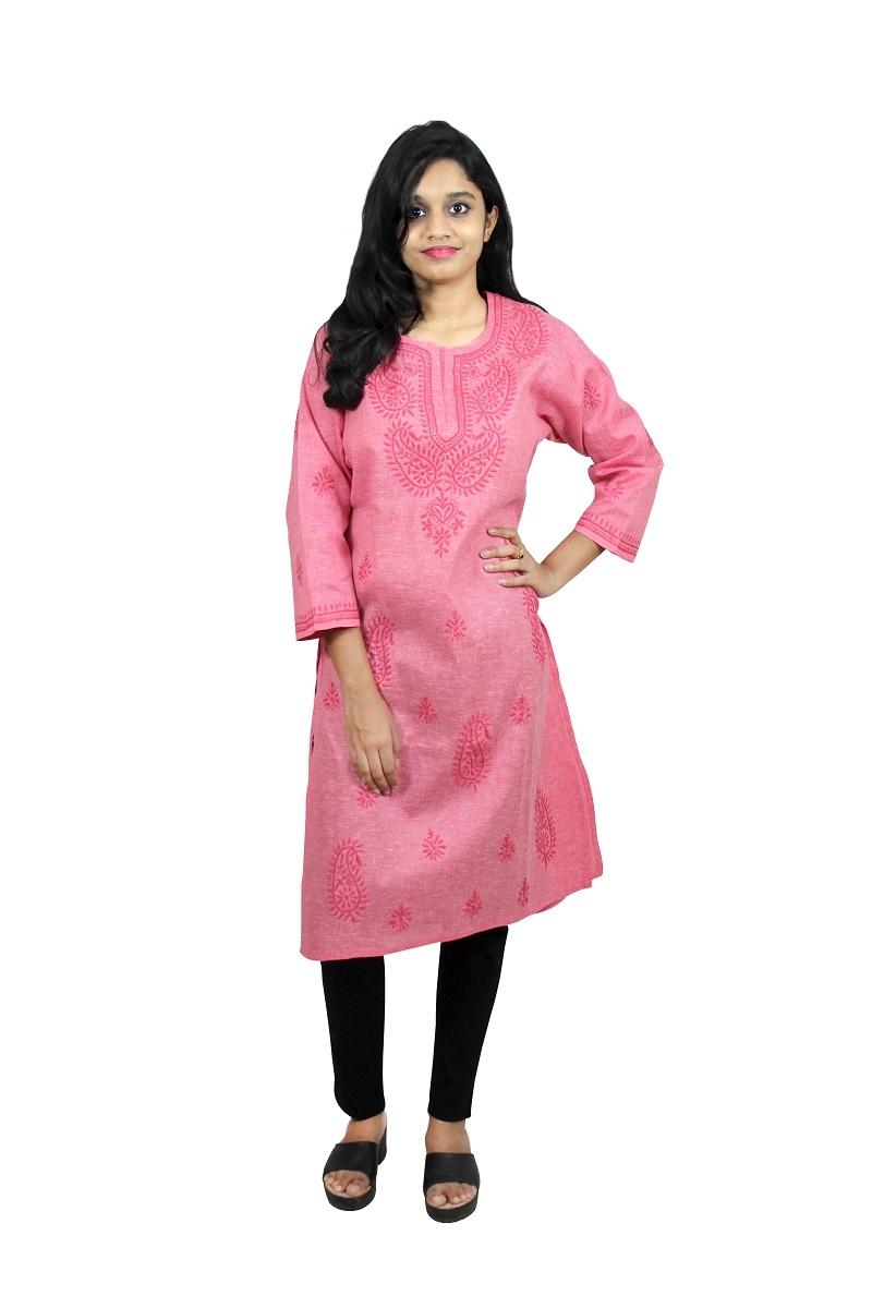 Chikanwork Khadi Pink kurti