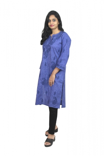 Chikanwork Khadi Cotton Dark Blue kurti