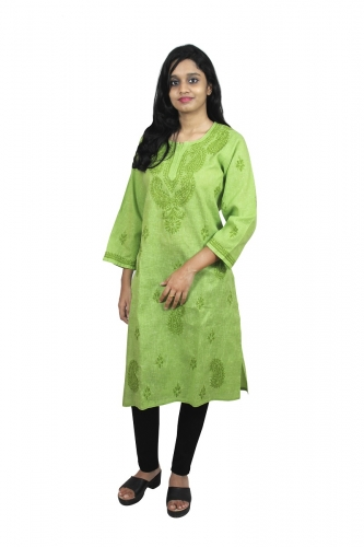Chikanwork Khadi Cotton Green kurti