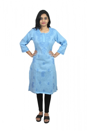 Chikanwork Khadi Cotton Light Blue kurti