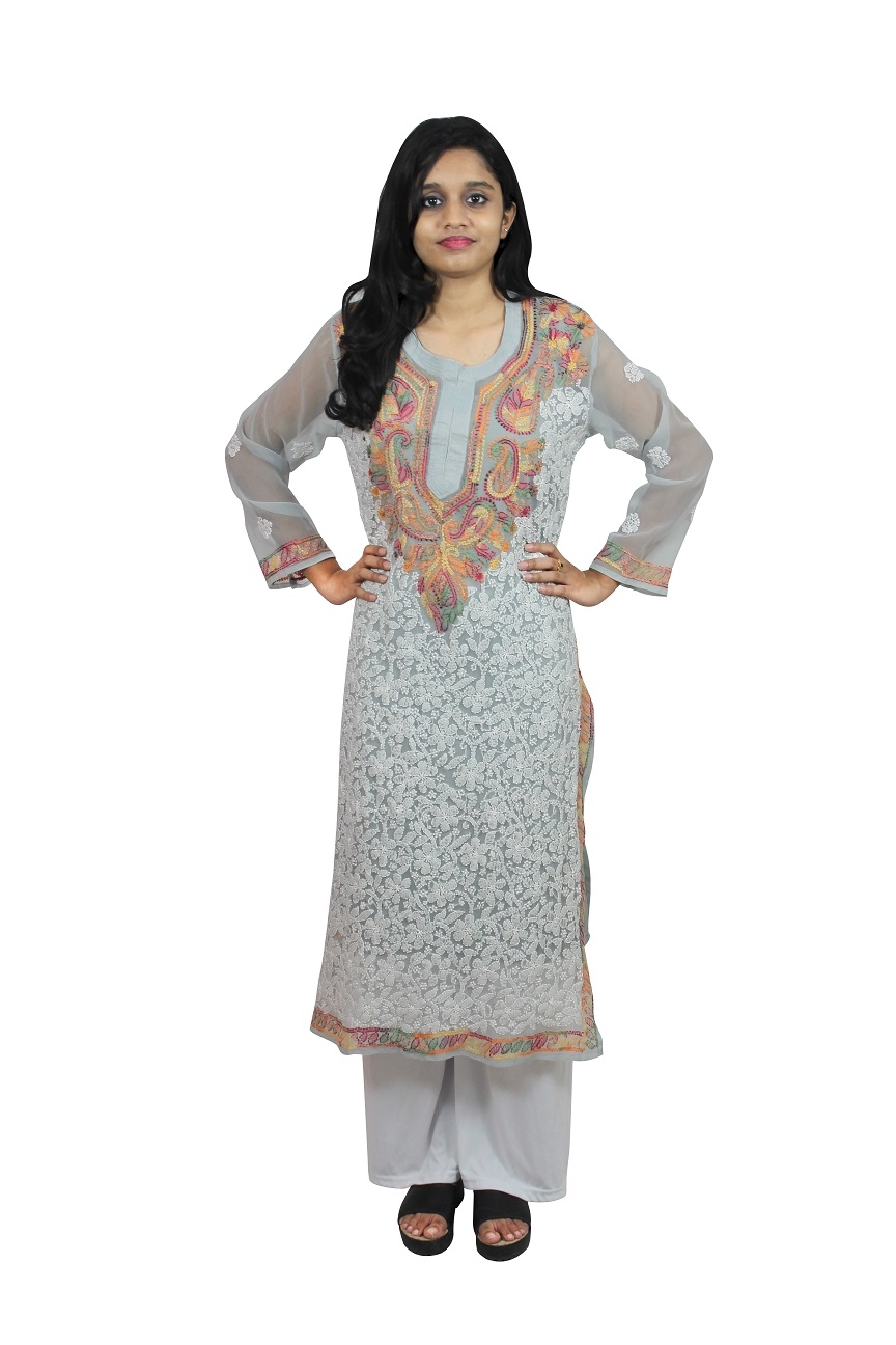 Chikanwork Georgette Straight Grey kurti