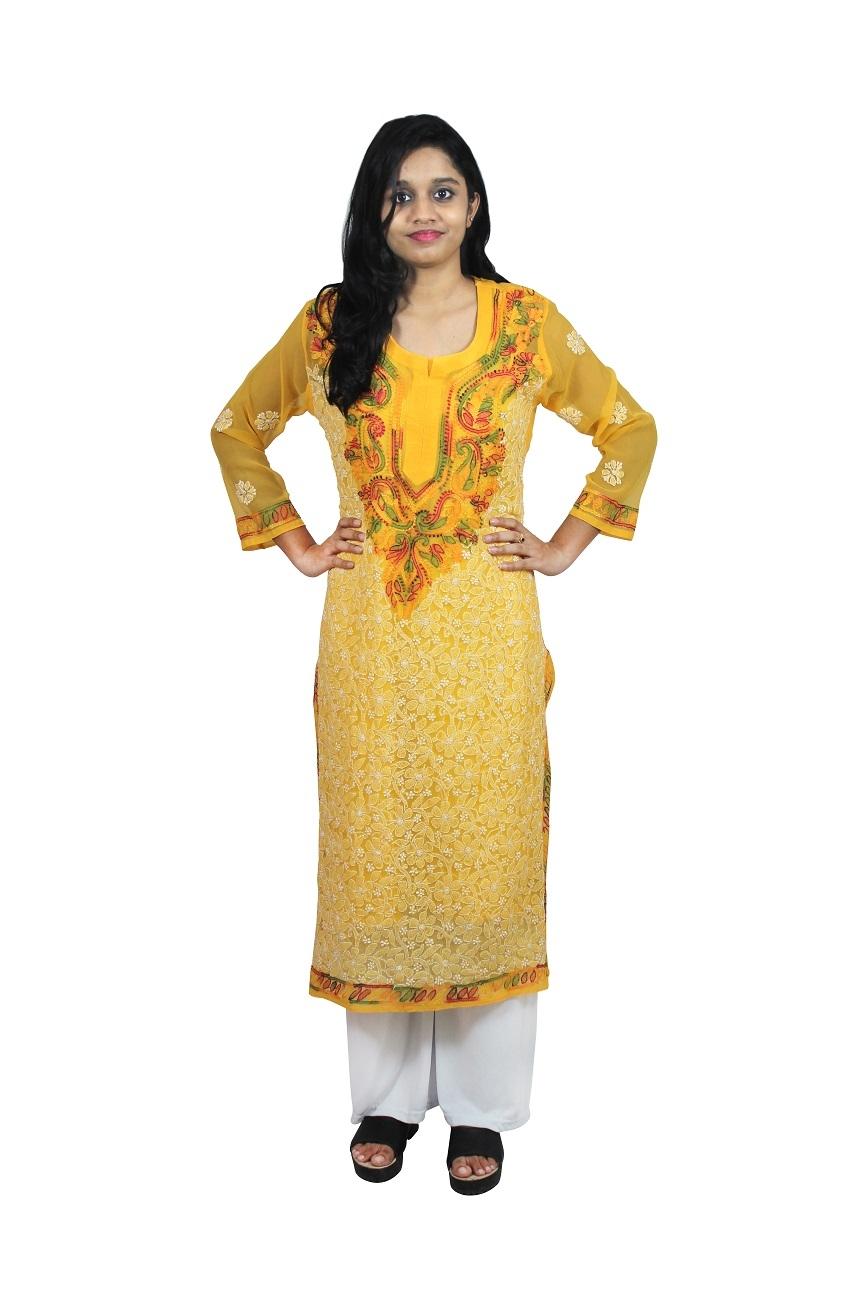 Chikankari Georgette Straight Yellow kurti