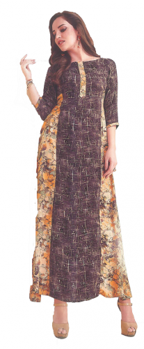 Brown-Yellow Printed Long Kurti