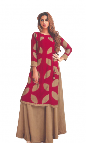 Red-Brown Printed long kuri