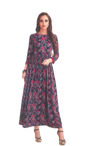 Blue-Red Printed long kurti