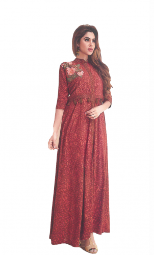 Brown Printed Long kurti