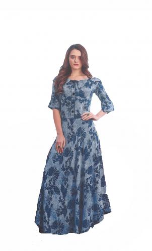 Dark-Blue Printed long kurti
