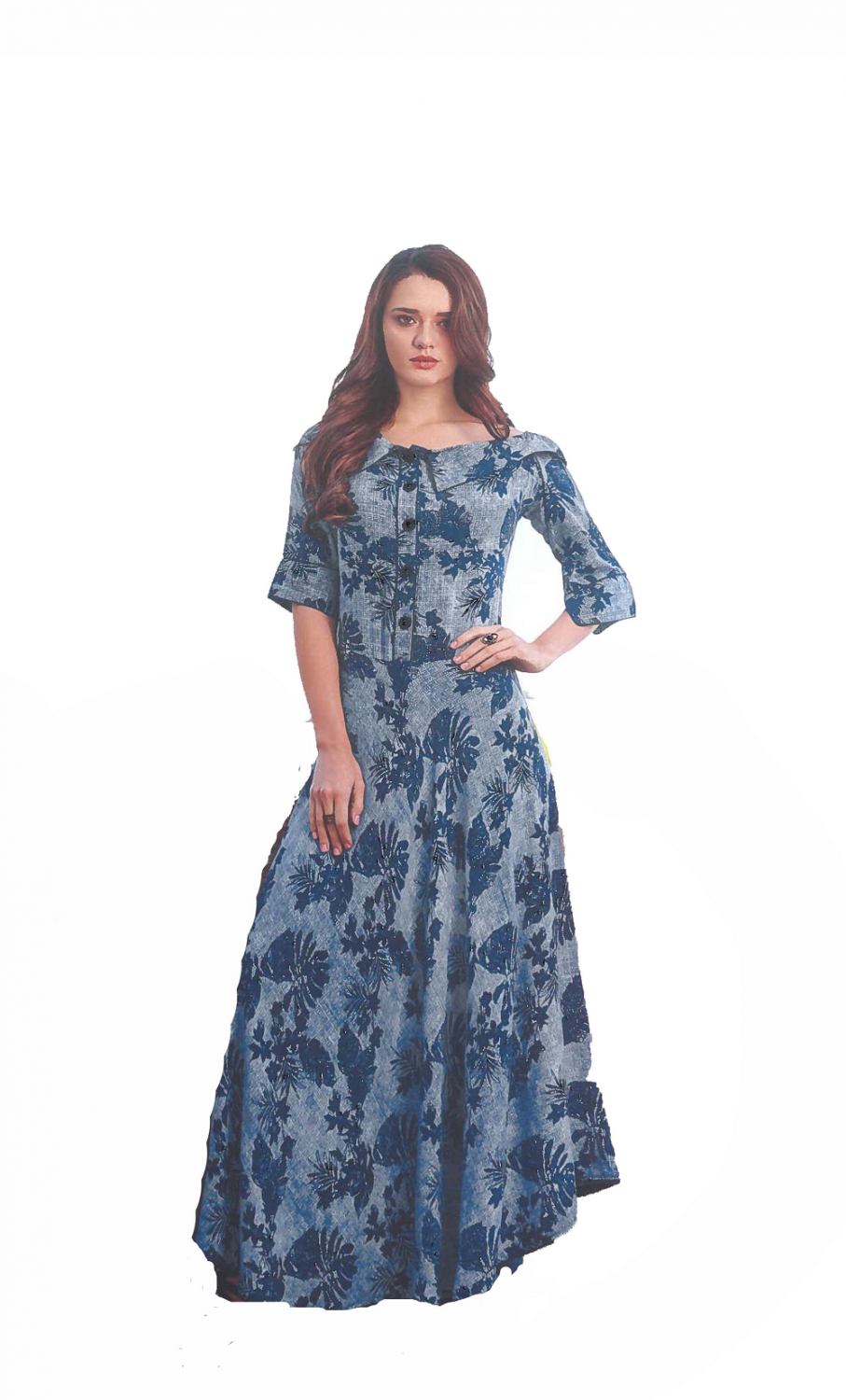 Dark-Blue Printed long kurti