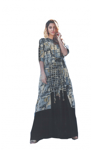 Black Printed Long kurti