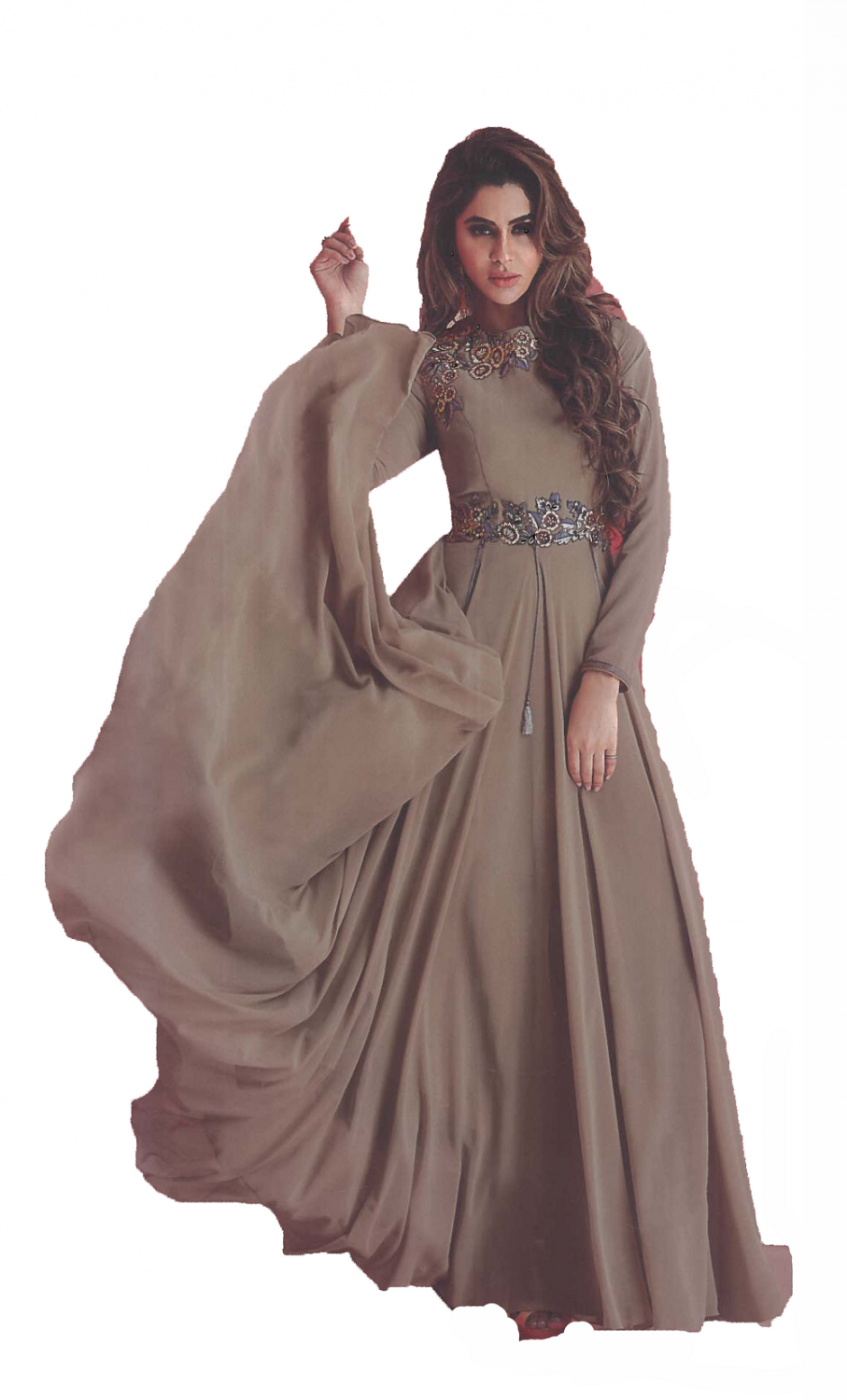 Ligh Chocolate Brown Georgette Gown