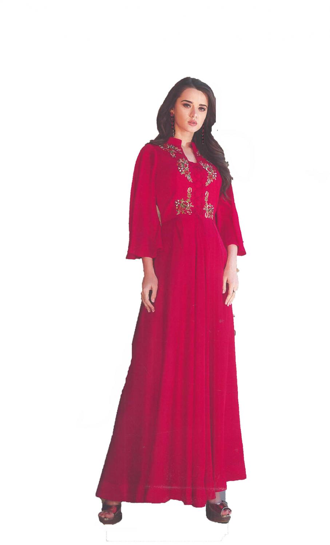 Dark Pink Crepe satin Gown