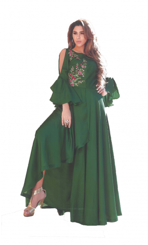 Green Crepe Satin Gown
