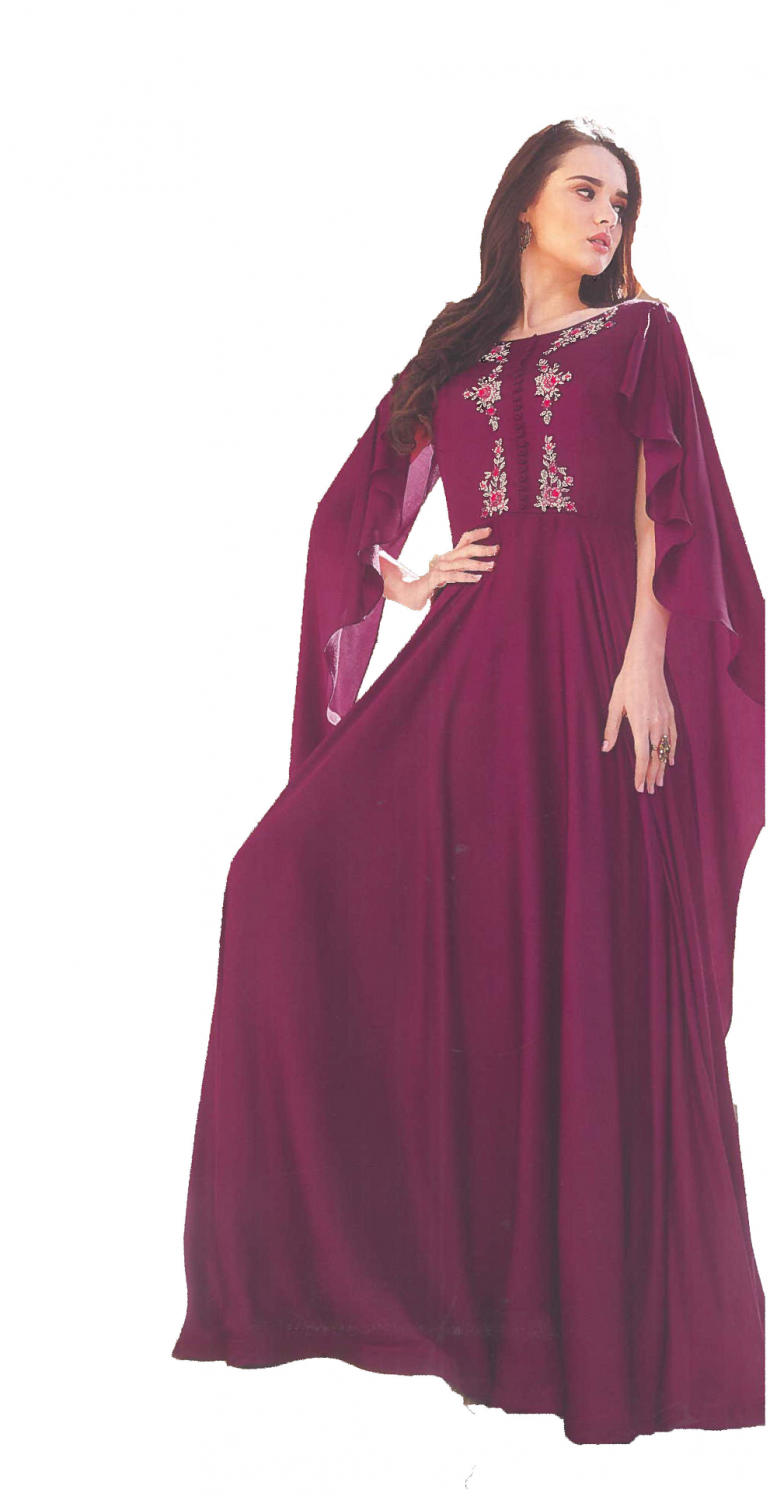 Purple Crepe Satin Gown