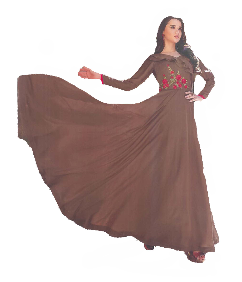 Chocolate Brown Crepe satin Gown