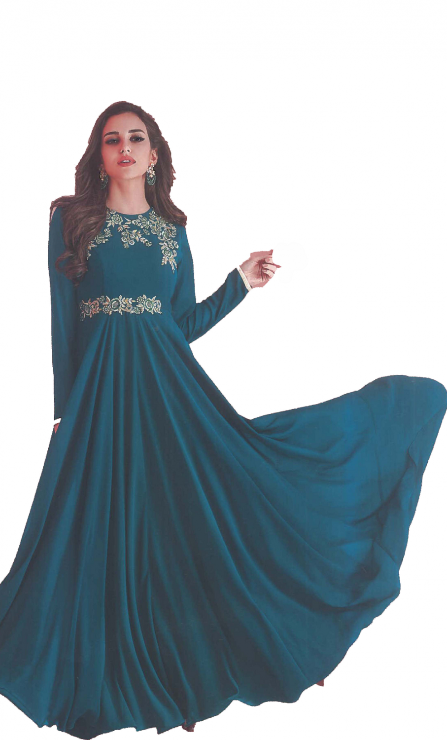 Dark-Blue Georgette Gown
