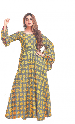 Yellow-Gray Printed Long kurti