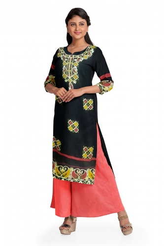 Black Embroidered Kurta with Pink Salwar