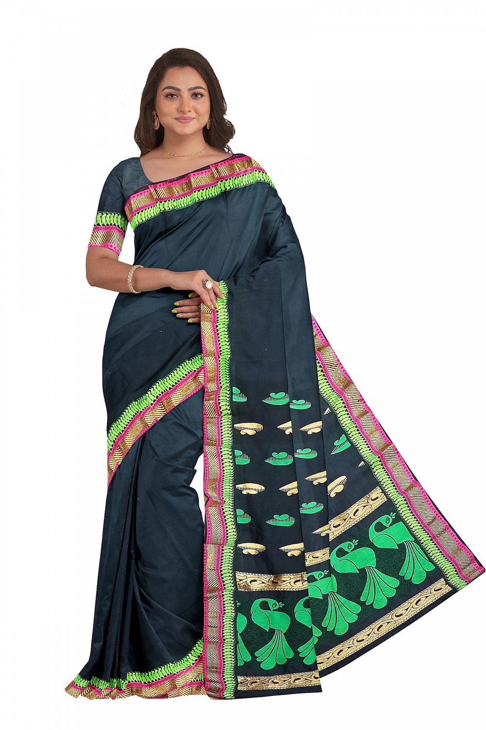 Black Sari with Green Embroidered Pallu