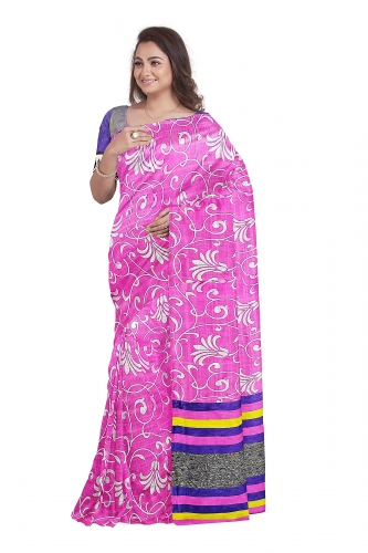 Pink Sari with Bluish Pallu and Blouse