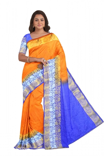 Orange Sari with Blue Pallu and Blouse