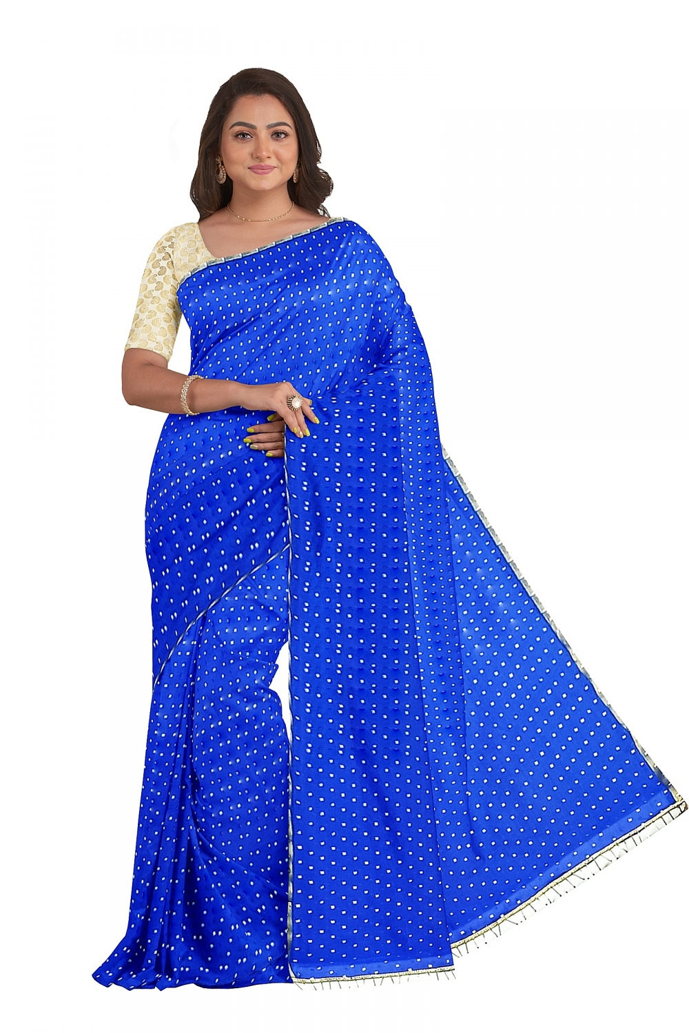 Blue Starred Sari with Shining Blouse
