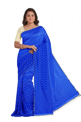 Blue Starred Sari with Shining Blou