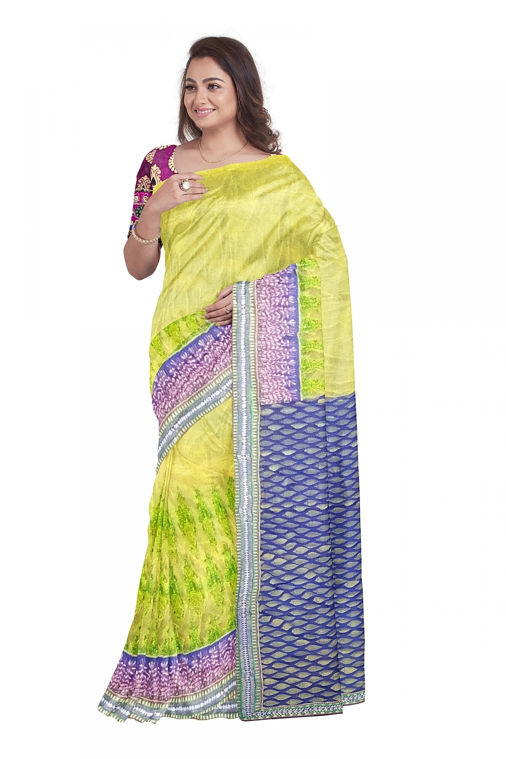 Yellow designer sari with Blue checked Pallu