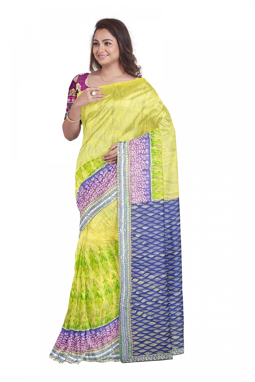 Yellow designer sari with Blue checked Pallu